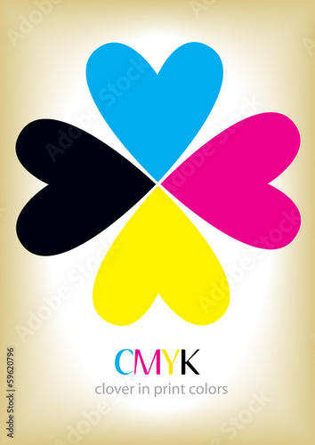 CMYK four leaf clover and place for your text