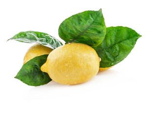 Fresh lemon with leaves, Isolated on white background