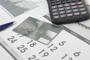 Bank card on the calendar page