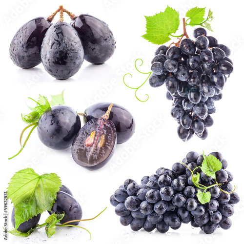 Collection of Dark grapes with leaves, Isolated on white