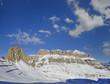 Mountain group Sella and pass Pordoi, Dolomiti mountain, Italy