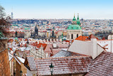 Panoramic view of Prague Old town and Lesser town