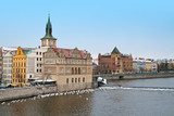 Smetana Embankment from the Charles Bridge in Prague