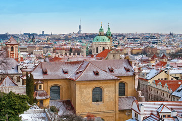 Panoramic cityscape of Prague with Saint Nicholas Cathedral