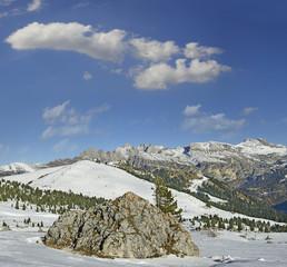 Val Gardena, Pizz Sella and mountain range Puez, Dolomites