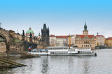 Boat on the Vltava river in Prague