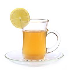 Cup of lemon tea with sliced lemon