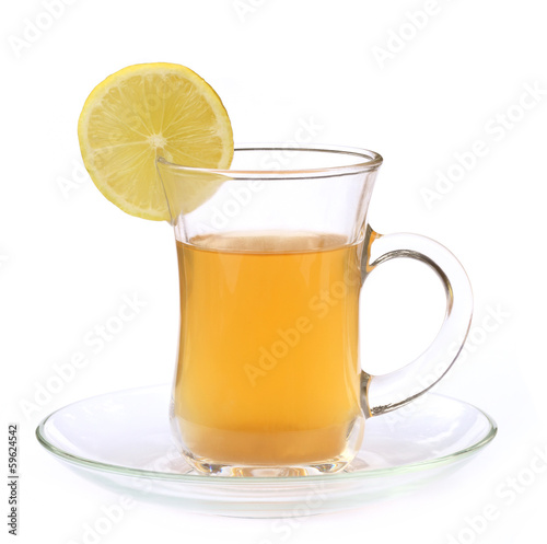 Cup of lemon tea with sliced lemon