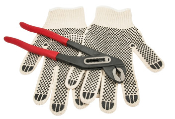 Dirty leather gloves and pliers