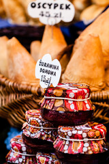 Traditional polish smoked cheese oscypek on market,Krakow,Poland