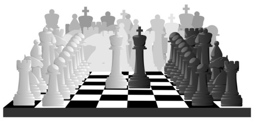Horizontal illustration of chess game.