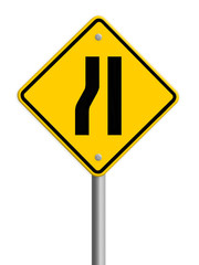 Road narrows merge right sign isolated on a white background, pa
