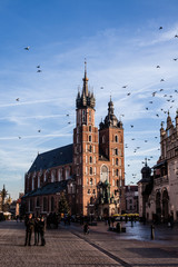View at St. Mary's Gothic Church,famous landmark,Krakow,Poland