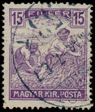 HUNGARY - CIRCA 1916: A stamp printed in Hungary shows Harvestin