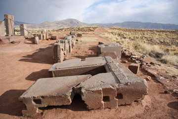 Ruins of Megalithic stone complex Puma Punku, Tiwanaku, Bolivia