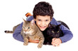 boy with cats