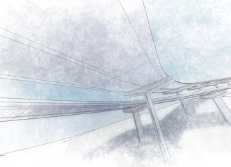 Sketch of the bridge project, in pencil.