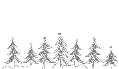 Weihnachtsbaum Grafik gemalt grau