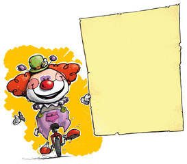 Clown on Unicycle Holding Invitation-Announcement