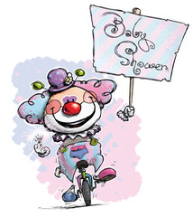 Clown on Unicycle  Hoding a Baby Shower Plackard