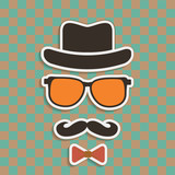 Hipster's hat, glasses, moustache