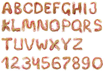 Alphabet of red and gold beads