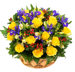 Natural yellow roses and blue irises in a basket