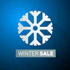 Vector Winter Sale Theme With Snowflake on Blue Background