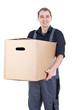canvas print picture - Lächelnder Umzugshelfer mit Karton