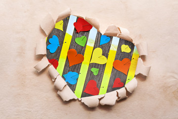 Frame Heart paper border shape flower old