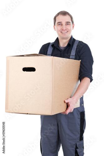 canvas print picture Lächelnder Umzugshelfer mit Karton