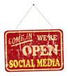 social media open sign, vintage sign