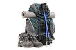 Hiking equipment, rucksack, boots, poles and slipping pad