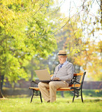 Senior man on bench and working on a laptop in a park