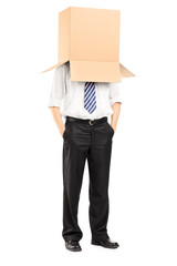 Full length portrait of a man with a cardboard box on his head