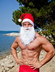 muscular santa claus show