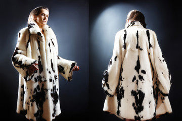 Fur coat winter fashion white mink