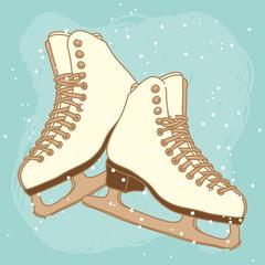 Vector postcard design with ice skates