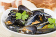 Moules Marinieres - Mussels cooked with white wine sauce. - 59632785