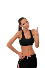 Fitness lady giving thumbs up