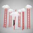 man climbing to cloud