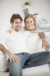 portrait of a cheerful couple at home