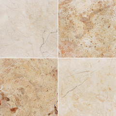 Four different texture of a light marble and granite.