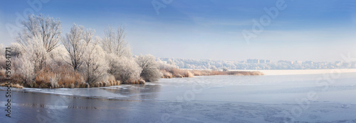 Panorama of the frozen pond