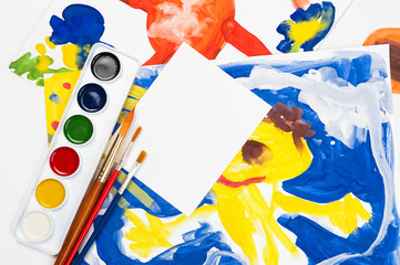 child watercolor illustration with blank sheet