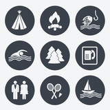 Vector camping icons - circular buttons, set 2
