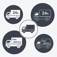 Vector truck symbols - delivery within 24 hours,free