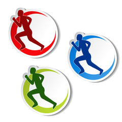 Vector circular stickers of fitness - runner silhouette