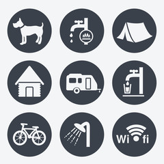 Vector camping icons - circular buttons, set 1