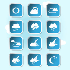 Vector weather forecast, banners, buttons - weather symbols